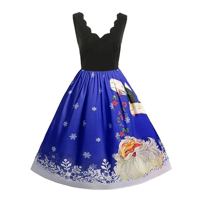 Vectry Rebajas Vestidos De Fiesta Vestidos De Encaje Vestido De Falda para Navidad Vestido Cóctel Vintage Vestidos De Falda sin Manga Vestido con Estampado ...
