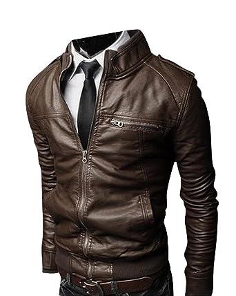 Homme Slim PU en Cuir Veste de Jeunesse Veste de Cuir à Fermeture-éclair  Veste de Moto  Amazon.fr  Vêtements et accessoires 5870e238cb8