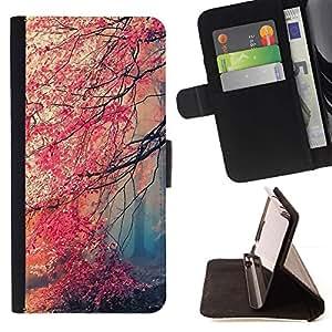 Momo Phone Case / Flip Funda de Cuero Case Cover - Caída roja de los árboles del bosque Hojas Misterio - LG G4 Stylus H540