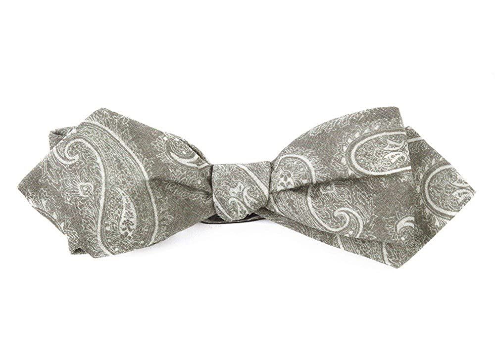 The Tie Bar 100/% LinenPlanetary Paisley Olive Self-Tie Diamond Tip Bow Tie