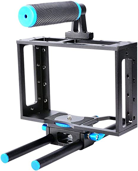 YaeCCC Kit de jaula para cámara DSLR de aluminio con plataforma de ...