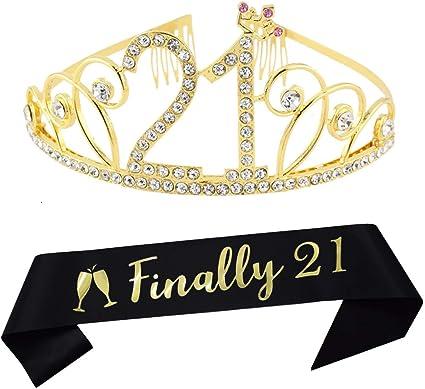 21st Birthday Tiara and Sash Pink Happy 21st Birthday Party Supplies Finally 2