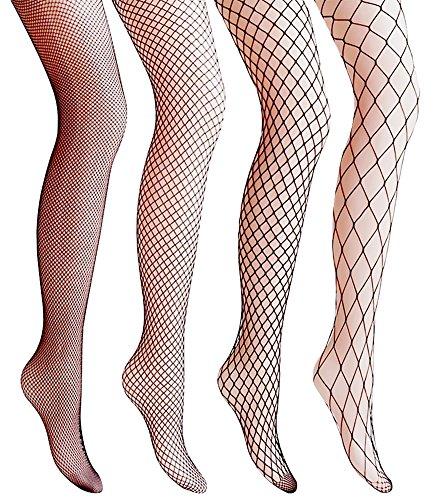 Amandir 4-5 Pairs Fishnet Stockings Womens Lace Mesh Patterned Fishnet Leggings Tights Net Pantyhose -
