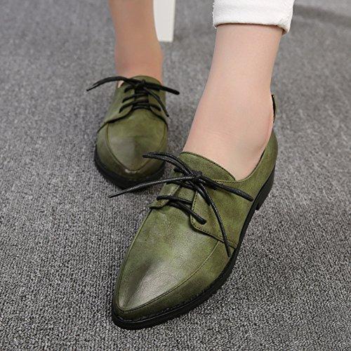 T-juli Kvinna Vintage Oxfords Skor - Classic Slip-on Spetsig Tå Glänsande Retro Skor Grönt