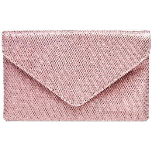 CASPAR TA357 Bolso de Mano Fiesta Elegante para Mujer / Clutch Brillo con Cadena Larga Rosa