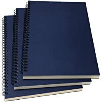 "B5 Spiral Notebook Lined, Spiral Ruled Journal with Hard Kraft Cover, 70 Sheets (140 Pages), 10.3"" x 7.2"", 3-Pack, Blue"