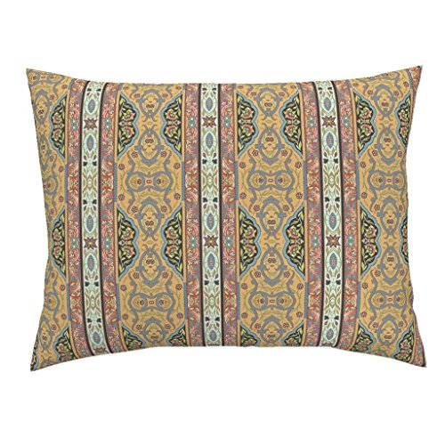 Roostery Folk Russian Rosemaling European Traveler Paisley Antique Euro Knife Edge Pillow Sham Fairytale Folk ~ Caravan by Peacoquettedesigns 100% Cotton Sateen by Roostery