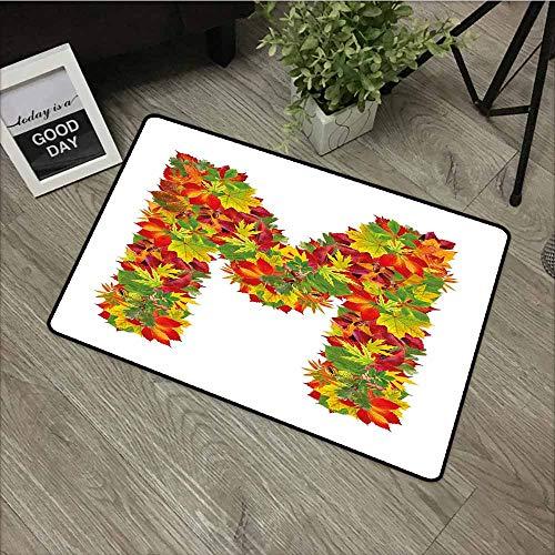 Indoor Doormat,Letter M Fall Season Elements Uppercase M Colored Leaves Acorns Autumn Nature,Rustic Home Decor,20