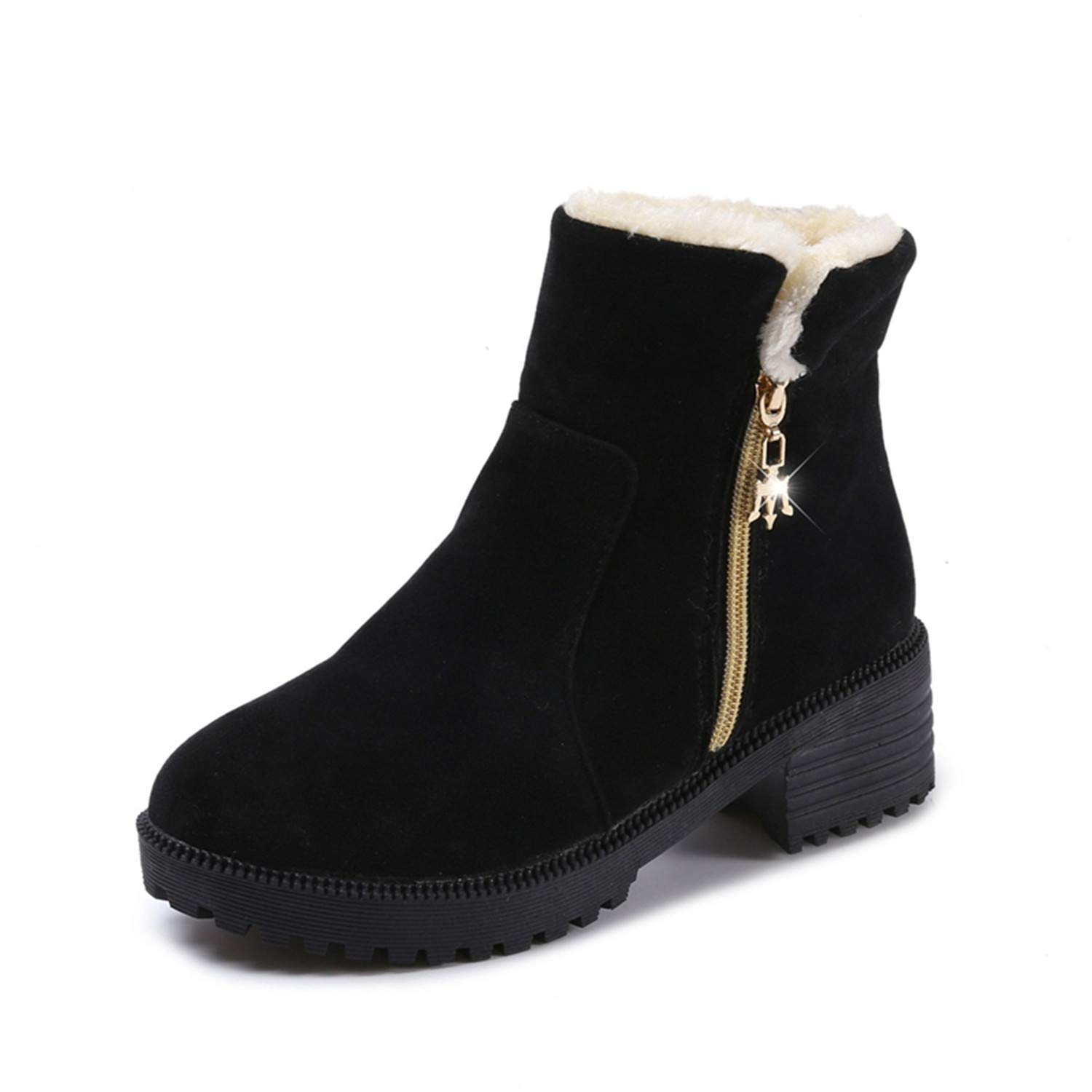 Kongsta Winter Shoes Fashion Womens Boots Leather High Heels Wedge Boots Plus Velvet Ladies Shoes Woman Non-Slip Casual Snow Boots