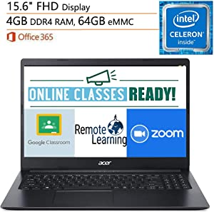 """Acer Aspire 1 Laptop Computer, 15.6"""" FHD, Intel Celeron N4020 up to 2.8GHz, 4GB DDR4, 64GB eMMC, 802.11AC WiFi, Webcam, Microsoft 365 Personal, Windows 10 S, iPuzzle Mouse Pad, Online Class Ready"""