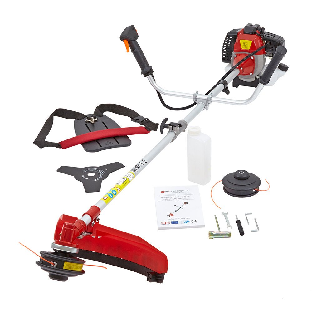 NEW TRUESHOPPING® PROFESSIONAL PETROL GRASS TRIMMER POWERFUL BRUSHCUTTER HEAVY DUTY MODEL 2-STROKE 49CC 1.5KW 2HP