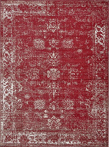 Unique Loom Sofia Collection Traditional Vintage Burgundy Area Rug (9' x 12')