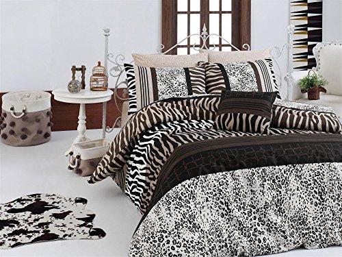 LaModaHome 3 Pcs Luxury Soft Colored Bedroom 100% Cotton Ranforce Quilt Duvet Cover Set Leopard Wild Animal Safari Africa Design Patternn Brown Queen/Full/ Bed