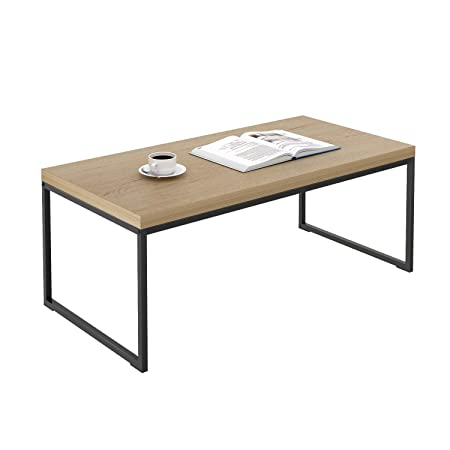 WLIVE Coffee Table with Metal Frame, Industrial Rectangular Table for Living Room Garden