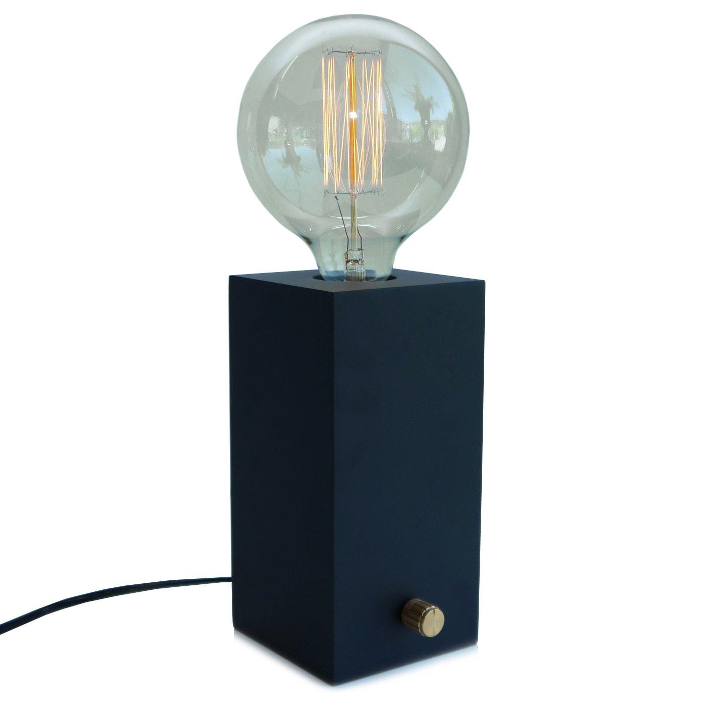 Design Tischlampe EDISON aus Holz mit Dimmer: Amazon.de: Beleuchtung