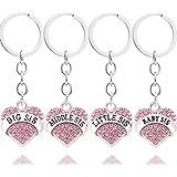 4pcs Women Girl Gift Big Middle Little Baby Sister Love Heart Pendant Key Chain Ring Set Family Jewelry (4pcs Pink B/M/L/B Sister Key Chains)
