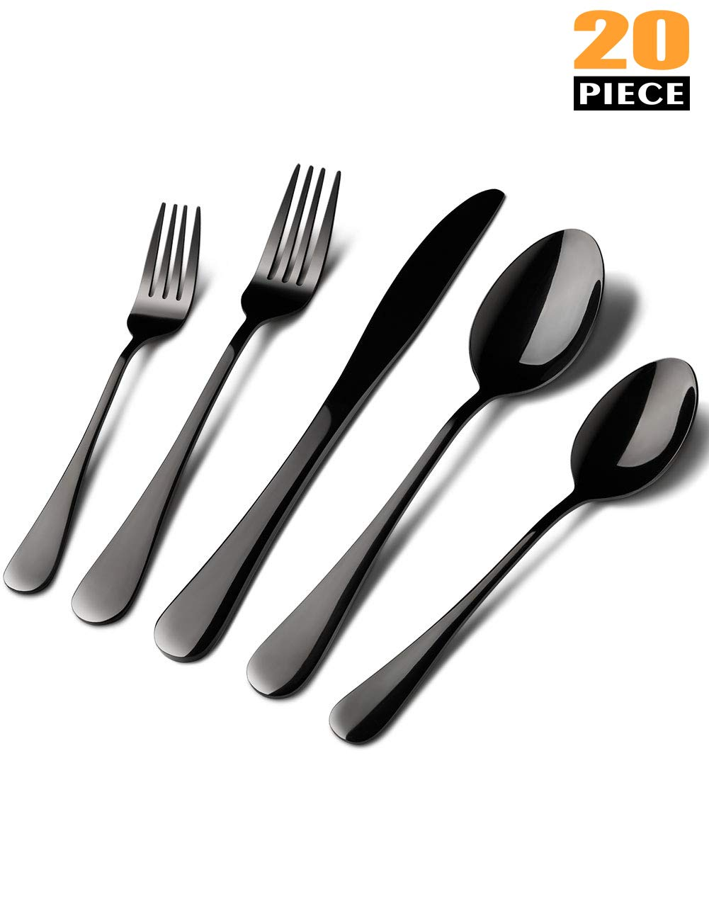 Black Matte Silverware Set, 20 Pieces Set Stainless Steel Flatware Utensils Cutlery Dinnerware Tableware Set, Steak Knife and Fork And Spoon Set with Gift Box Package,Service For 4 (Black)