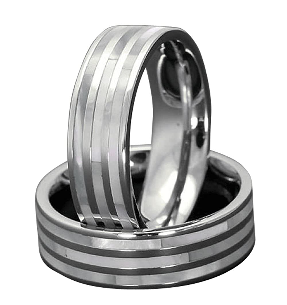 7mm Mens Titanium Ring Wedding Band Mother of Pearl High Polish Edge Size 10-14 SPJ