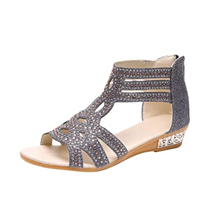 Anguang Damen Peep Toe Sandalen Glitzern Elegant Slippers Mit Reißverschluss  Schwarz 36 896f2b6926