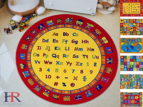 Handcraft Rugs- Round Kids Rugs Letters and Mathematics Classroom Rugs Non-Slip Rubber Back 7.7 ft. ABCD Fun - Kids Fun Carpet