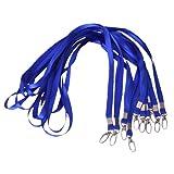 10Pcs ID Card Lanyard Badge Neck Strap w/ Metal Clip--Royal Blue
