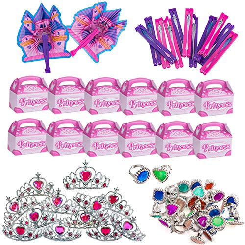 Princess Sofia Birthday (Funny Party Hats Princess Party Supplies - Party Favors - 72 Pc Set - Tiaras, Princess Fans, Treat Boxes & Princess)