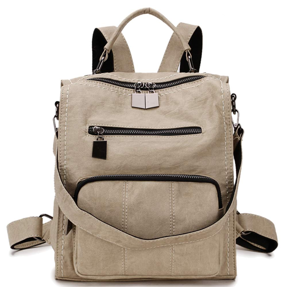 RAVUO Mini Backpack Purse, Women Faux Leather Shoulder Bag Fashion Bag Three Ways to Carry Beige