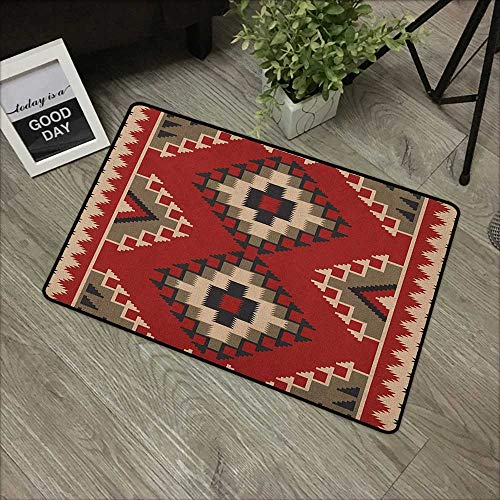 (Bathroom Entry mats Afghan,Middle Eastern Folklore Pixel Art Triangles Afghan Style Geometric Illustration, Multicolor,with Non Slip Backing,35