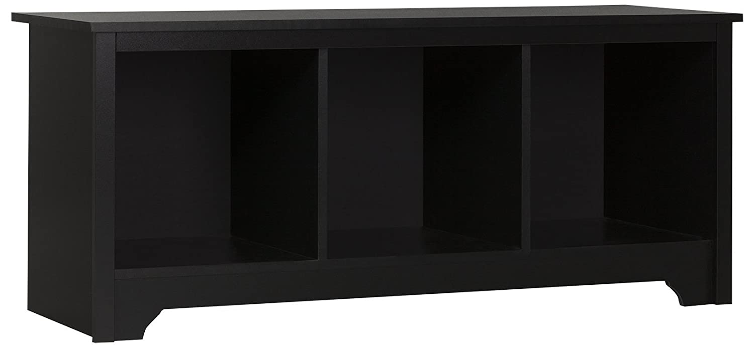 South Shore Entryway Cubby Storage Bench, Pure Black 10330