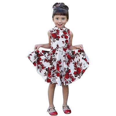 Longra Maman et Bébé Robe de Imprimé floral Robe de famille salutation vêtements Mère et Bébé Fille Col Rond Bohême à Rayures Famille Vêtements Shirts Robes d