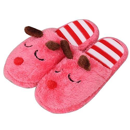 DZT Zapatillas de algodón de invierno de dibujos animados Puppy Ladies Home Interior antideslizante de algodón caliente Slipper Botines, Red, ...