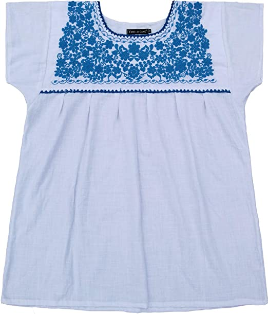 Amazon.com: YZXDORWJ - Blusa mexicana de algodón para mujer ...