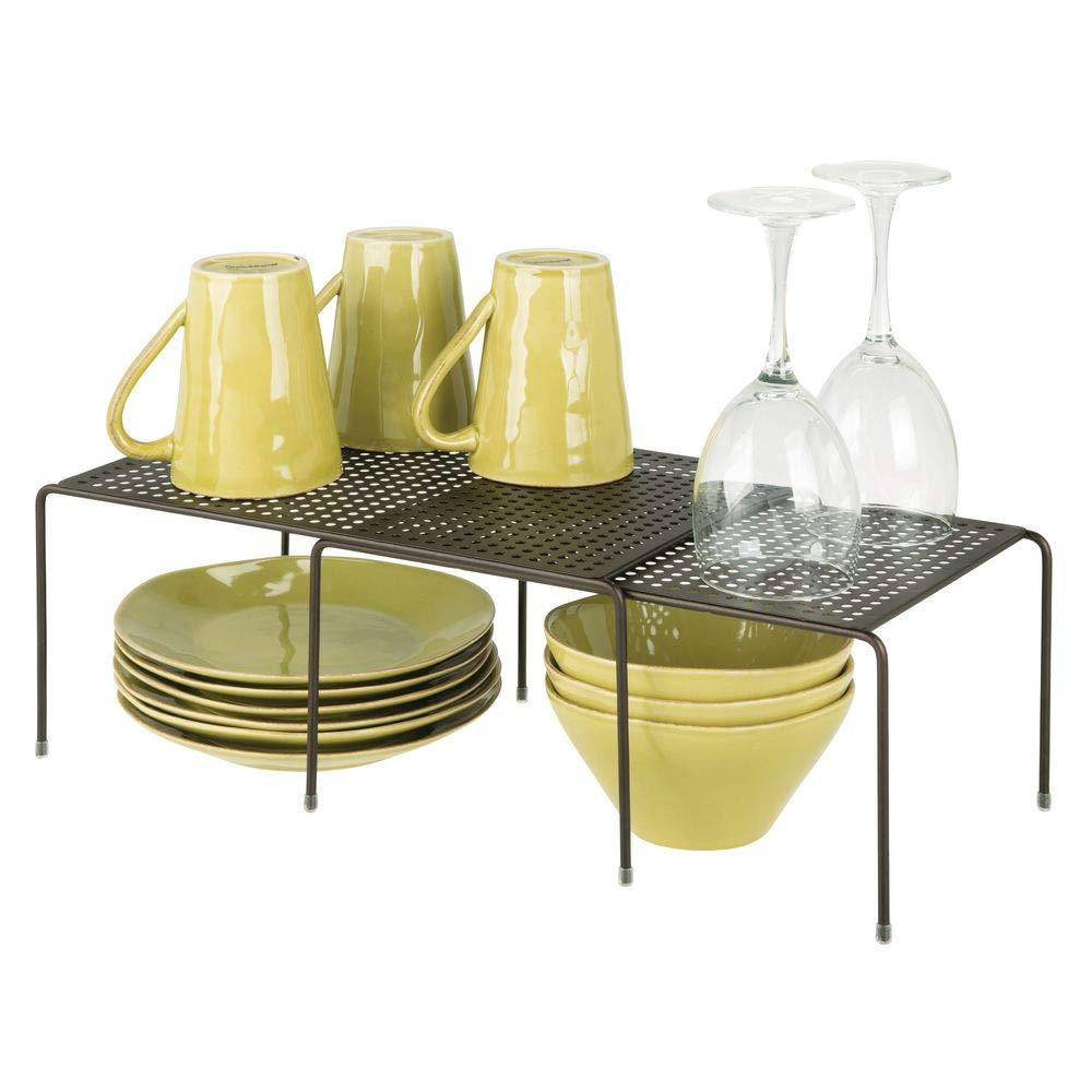 mDesign étagère de cuisine – égouttoir pratique en métal pour plus d'espace de rangement – étagère cuisine télescopique rétractable – couleur bronze
