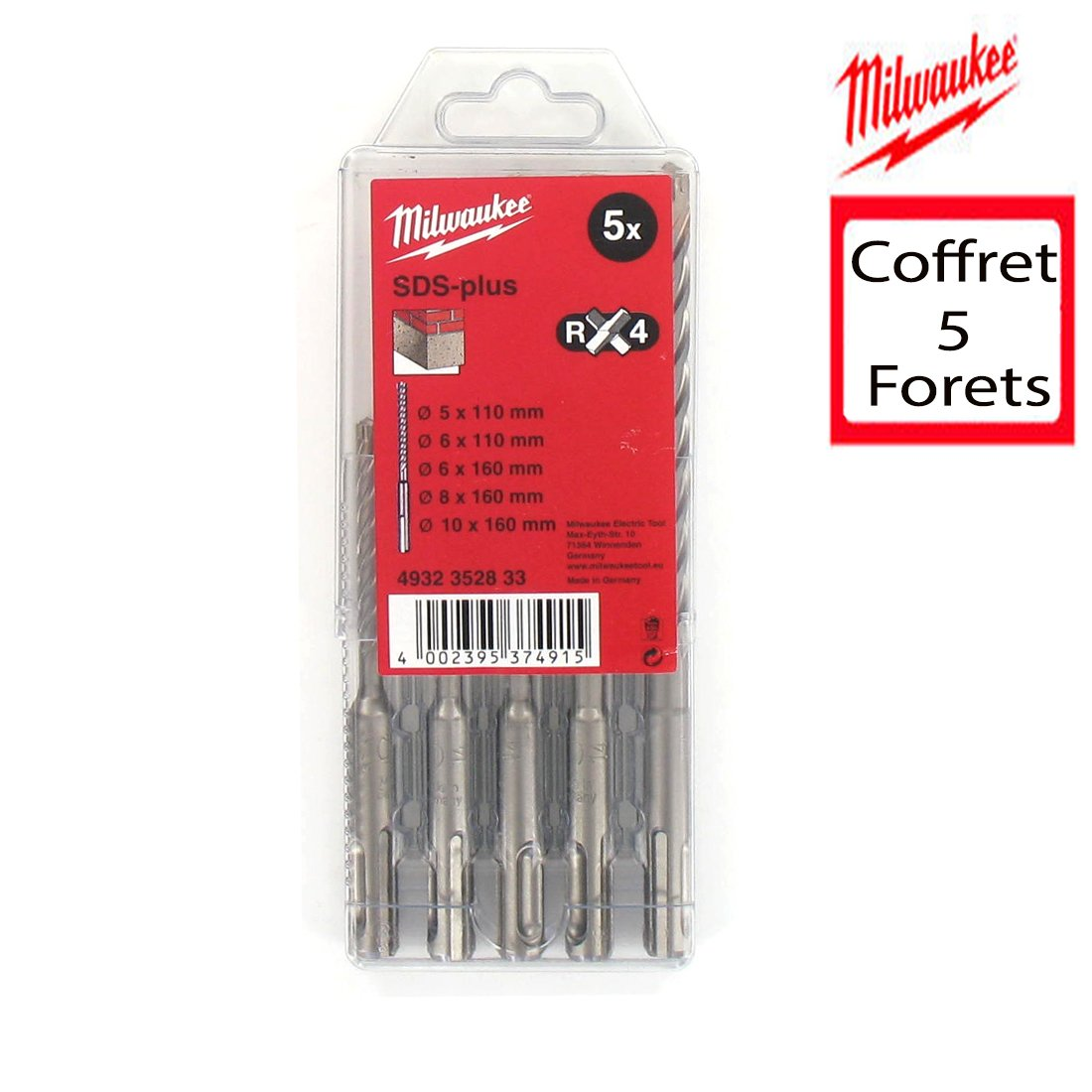 Milwaukee RX4 SDS-plus 4932352833 Caja de brocas para hormig/ón 5 unidades