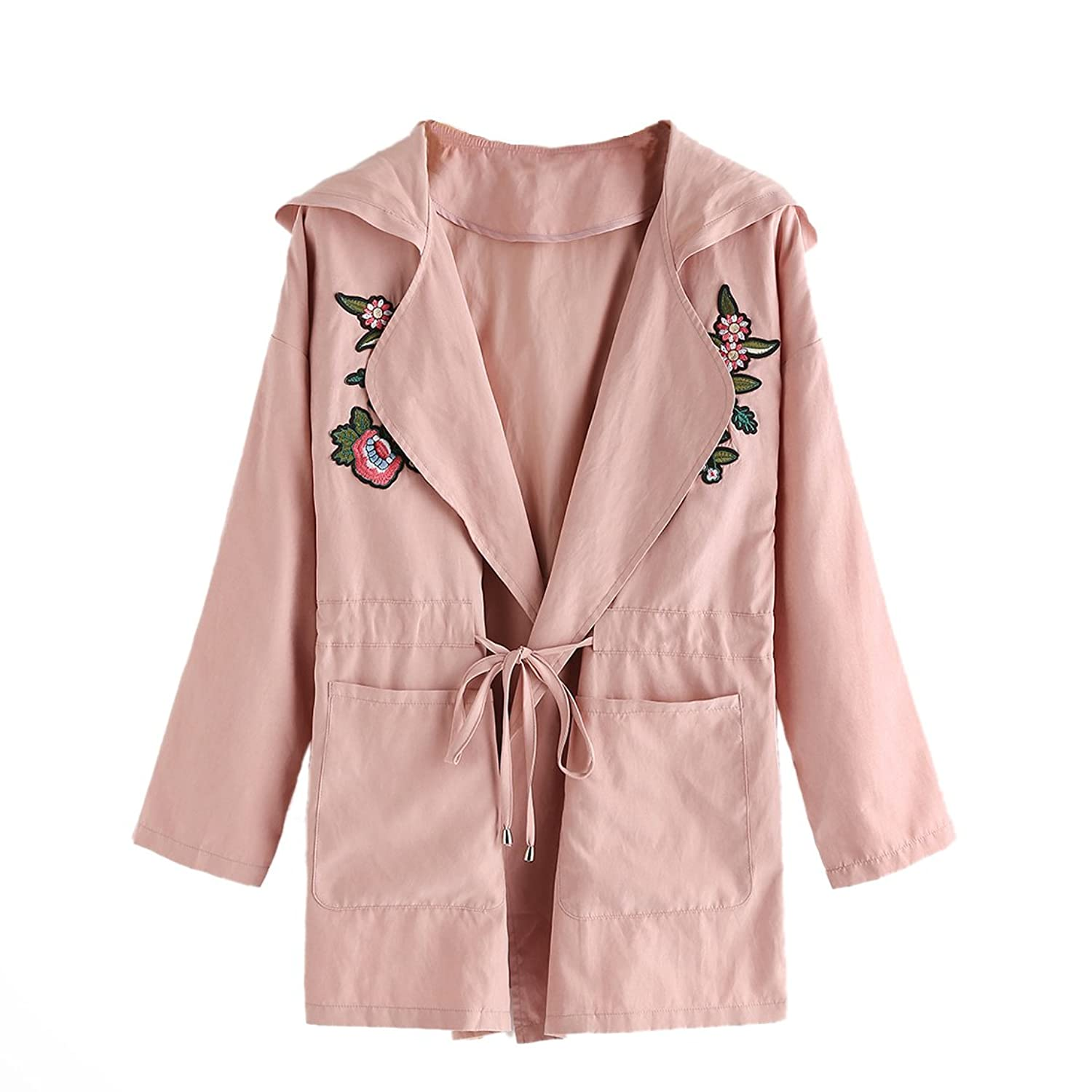 Floerns Women's Hooded Lapel Thin Coat Embroidered Flower Drawstring Waist Casual Jacket Outwear