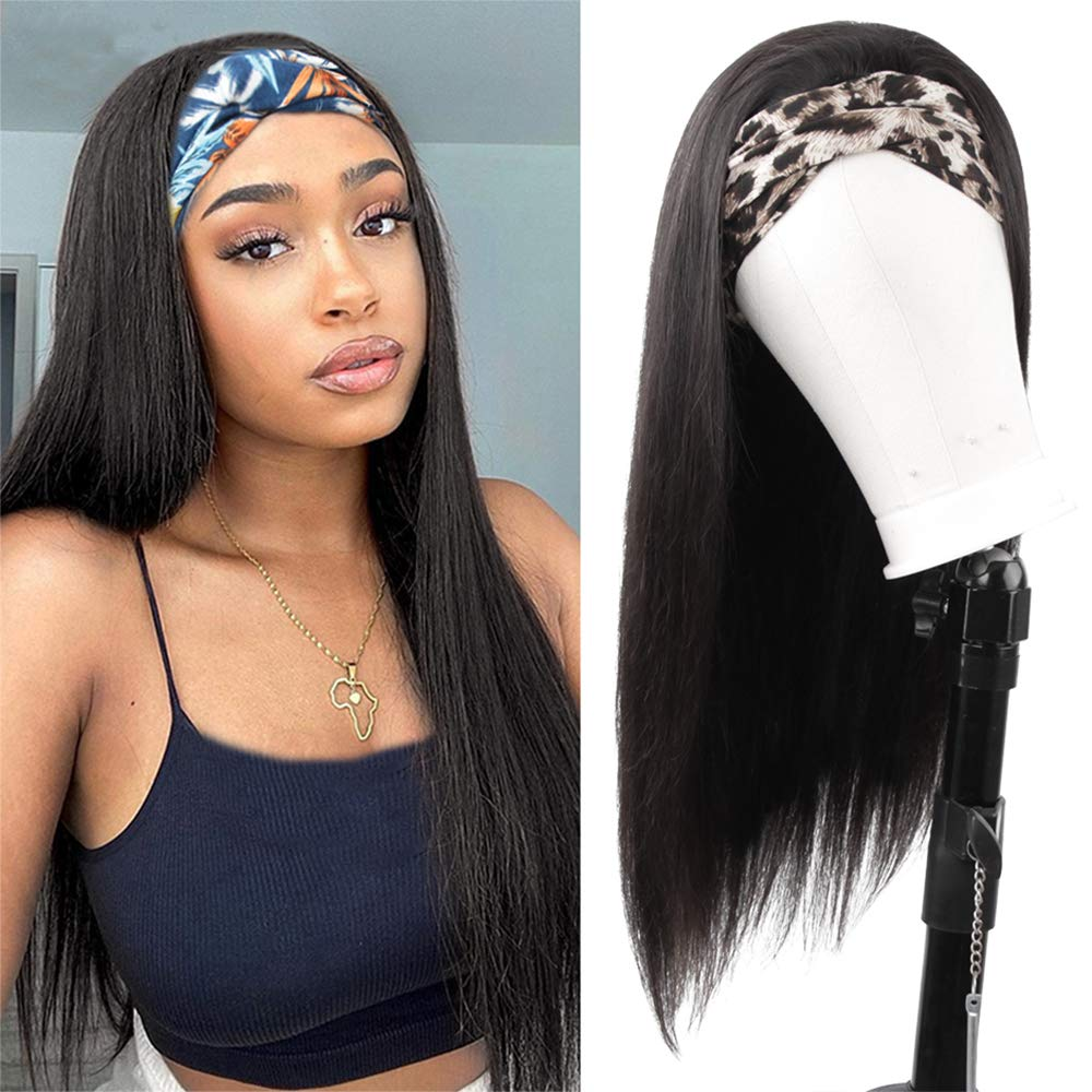 Headband Wigs for Black women Straight Human Hair Wigs Brazilian Virgin Hair None Lace Front Wigs 150% Density Machine Made Half Wig Glueless Headband Wig Wonder Girl