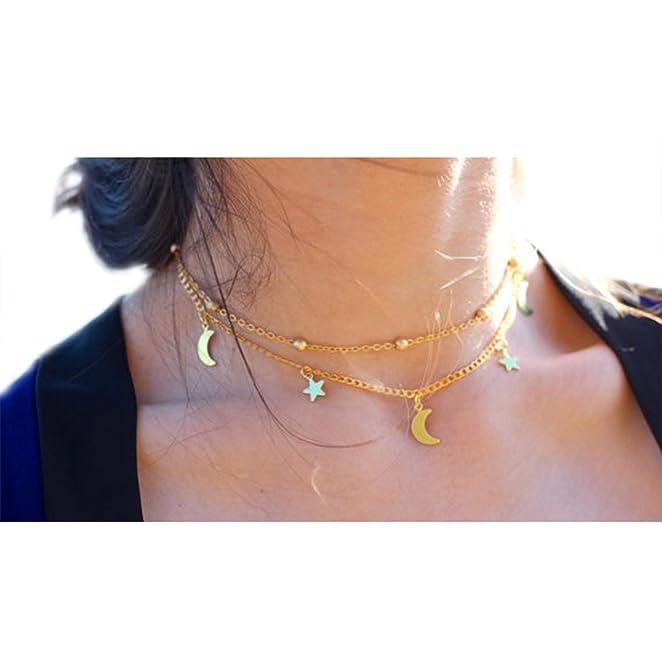 Goldkette damen stern  Sinyuee Damen Halskette Choker Gold Kette mit Anhänger Stern Mond ...