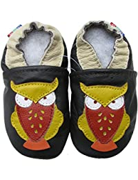 Carozoo Owl Dark Brown Baby Boys Soft Sole Leather Shoes