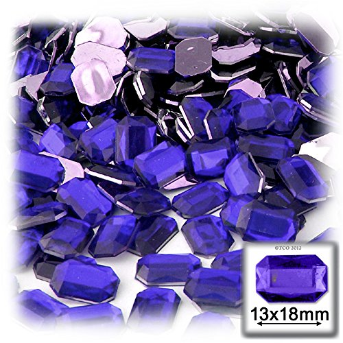 長方形の八角形クラフトアウトレット144アクリルアルミ箔フラットバックラインストーン、13by 18mm、ロイヤルブルーの商品画像