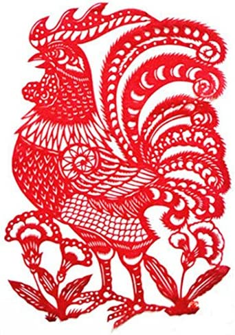 創造的な伝統的な中国の干支ゾディアックチキン繊細な紙カットデコレーション/ギフト