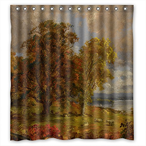 TonyLegner Jasper Francis Cropsey - Landscape With Trees And Sheep Near A Copse Shower Drape Polyester Best For Father Gf Relatives Lover Birthday. Easy Care Width X Height / 72 - Golden Jasper Horse