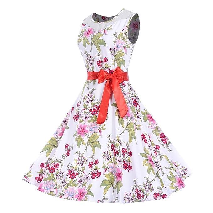 Dress for Women Vintage 1950s Retro Sleeveless Elegant Floral Print O Neck Evening Party Dresses Classic Prom Swing Dress