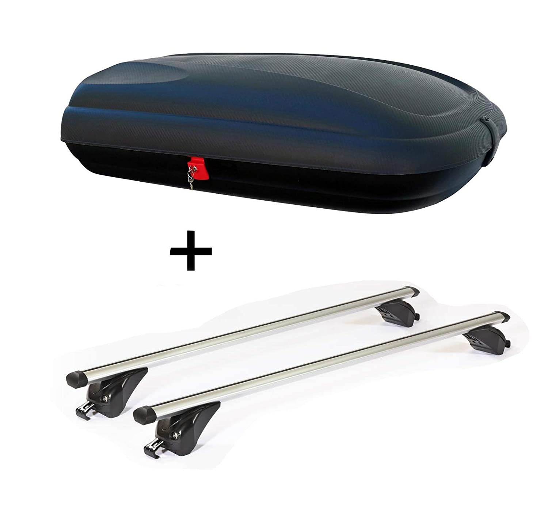 5 T/ürer Dachtr/äger VDPKING2 kompatibel mit BMW X5 7-13 E70 Dachbox VDPBA320 320Ltr carbonlook abschlie/ßbar