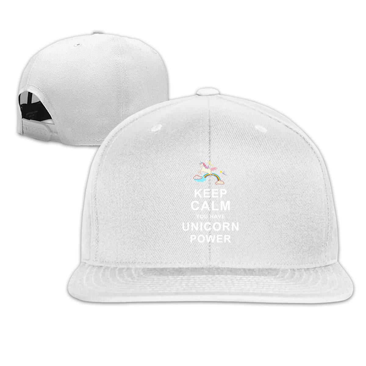 MOCSTONE Unisex Snapback Hat Keep Calm You Have Unicorn Power Adjustable Baseball Cap