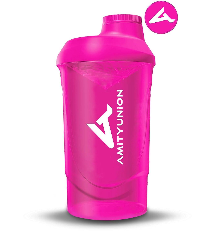 AMITYUNION Protein Shaker Deluxe 800 ml - a prova di perdite bottiglia BPA Gratuiti con Sieve e scala per Creamy proteine del siero in polvere Shakes - Fitness Shaker (Pink) AUK23A