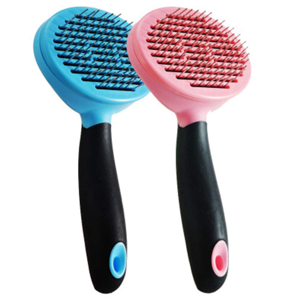 Pet Grooming Brush Self Cleaning Slicker Brush Shedding Tool for Dogs and Cats with Medium and Long Hair Fur,bluee