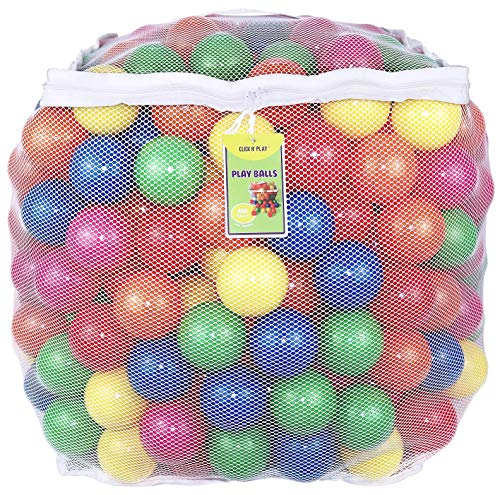 Click N' Play Value Pack of 400 Phthalate Free BPA Free Crush Proof Plastic Ball, Pit Balls - 6 Bright Colors in Reusable and Durable Storage Mesh Bag with Zipper (Renewed)]()