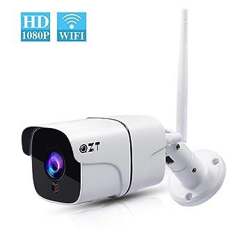 QZT Cámara IP WiFi Exterior, Cámara de Vigilancia Inalámbrica HD 1080P con Visión Nocturna,