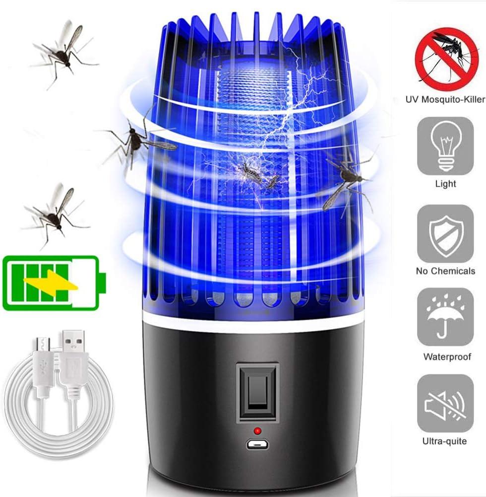 Mosquitos Killer Exterior, 360° UV Lámpara Mata Mosquitos Electrico Fotocatalizador, Portátil Mute Trampas Moscas Choque Antielectrico, Seguro sin Químicos,Rechareable 2000mAh