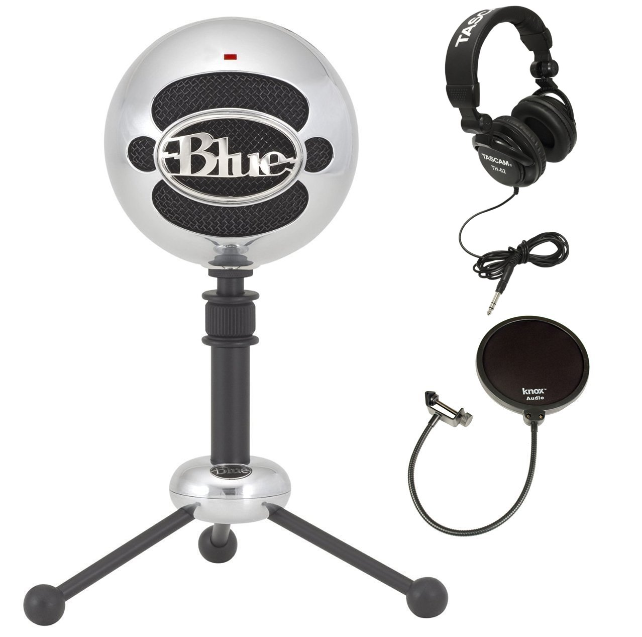 Blue Microphones Snowball Plug-and-Play USB Microphone in Brushed Aluminum with Studio Headphones and Microphone Pop Filter SNOWBALL-BA
